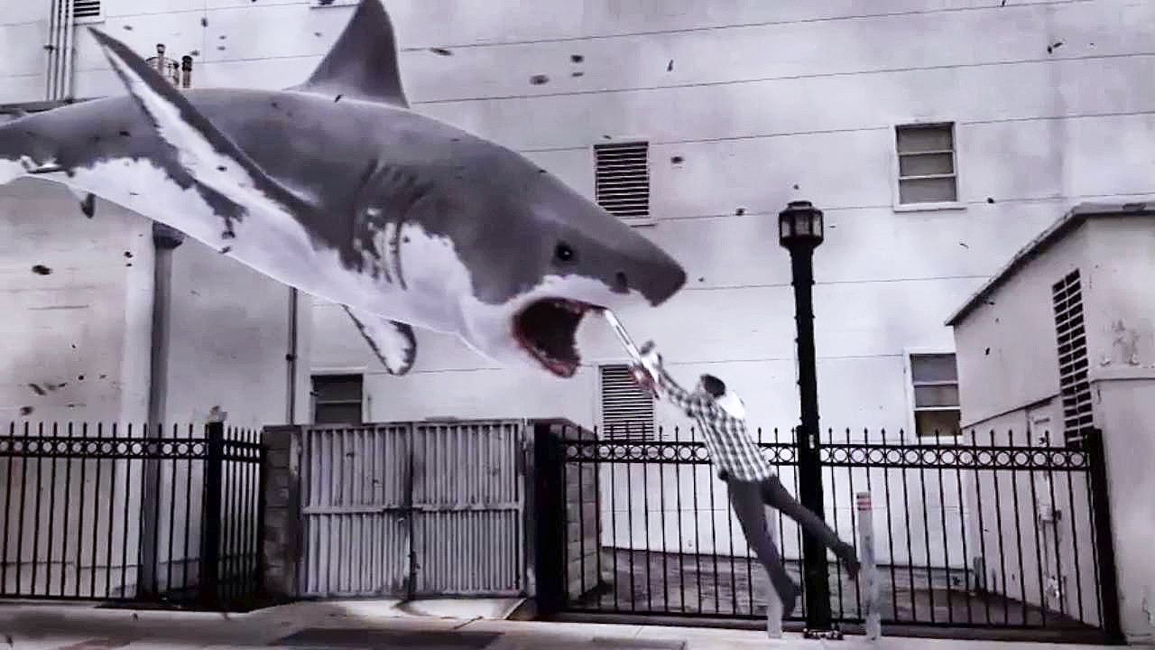 """It's like """"The Creation Of Adam"""", only better. Because sharks."""